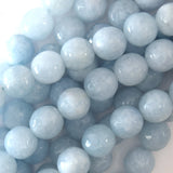 Faceted Light Blue Aquamarine Quartz Round Beads 14.5