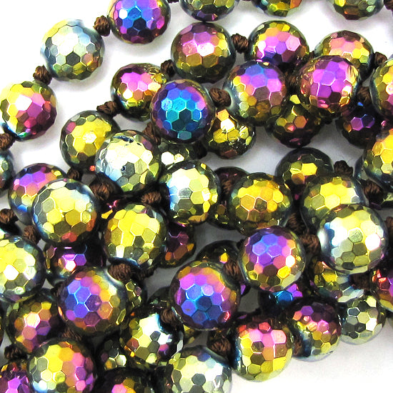 "10mm faceted quartz round beads 14"" strand rainbow"