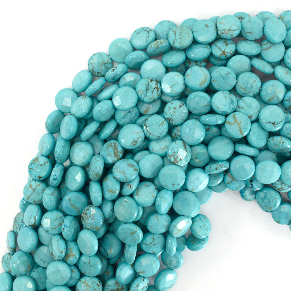 "10mm faceted blue turquoise coin beads 15.5"" strand"