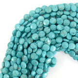 10mm faceted blue turquoise coin beads 15.5