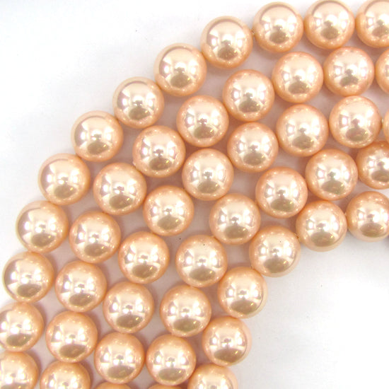 "14mm pink shell pearl round beads 16"" strand S2"