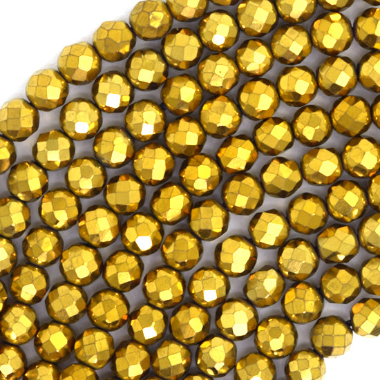 "4mm faceted gold hematite round beads 15.5"" strand"