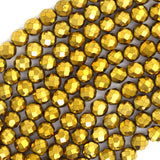 4mm faceted gold hematite round beads 15.5