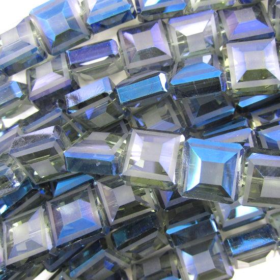 "13mm faceted frost crystal square beads 16"" strand dark blue"