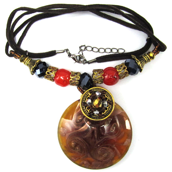 Gold lampwork glass coin pendant necklace 16""