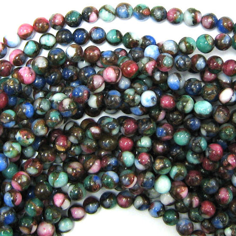 "8mm faceted ruby red jade round 15"" strand"