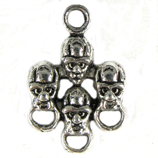 22 25mm silver plated pewter skull beads charm findings