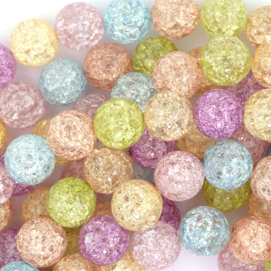 "12mm multicolor crack crystal round beads 15.5"" strand"
