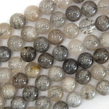 Natural Black Rutilated Quartz Round Beads 15.5