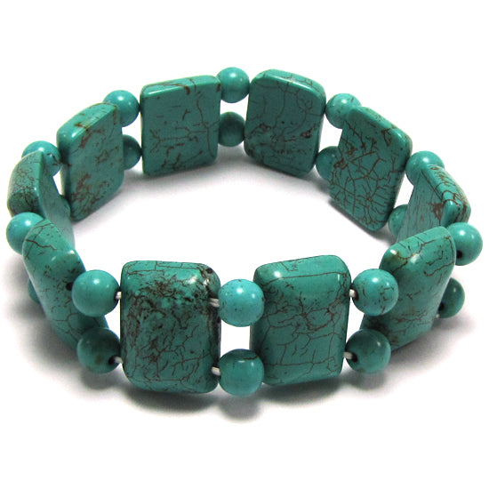 20mm blue turquoise stretch bracelet 8""