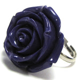 26mm synthetic coral carved rose flower adjustable ring size 5-7 purple