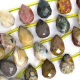 14mm natural faceted ocean jasper teardrop beads 15.5
