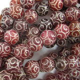 10mm red brown jade carved round beads 7.5