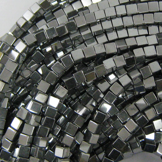 "3mm hematite cube beads 16"" strand silver color"
