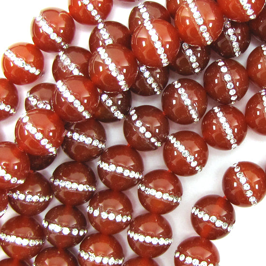 "14mm red carnelian round beads with rhinestone inlaid 15"" strand"