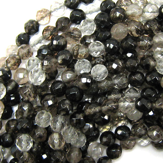 "8mm faceted black moss quartz round beads 14.75"" strand"