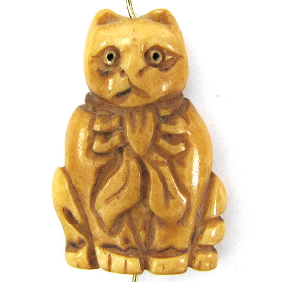 27x40mm bone carved cat pendant bead