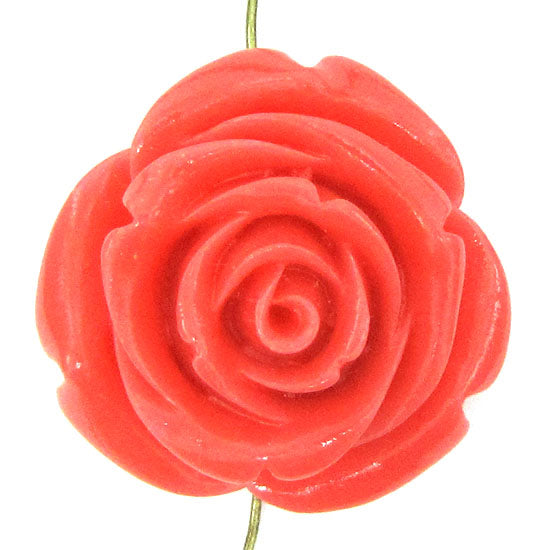 2 pieces 35mm pink synthetic coral carved rose flower pendant bead S1