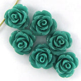 6 12mm synthetic coral carved rose flower pendant bead green