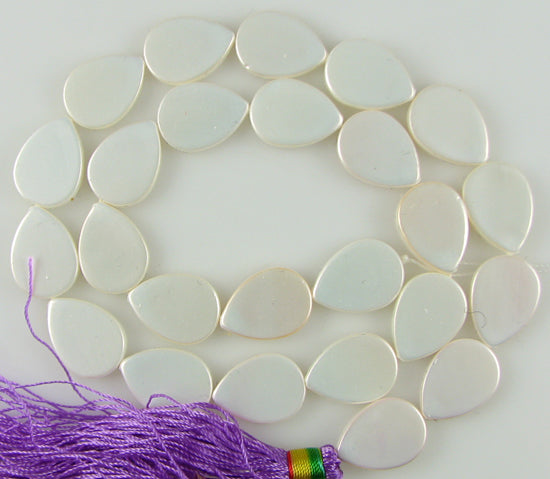 "16mm white shell pearl flat teardrop beads 16"" strand"