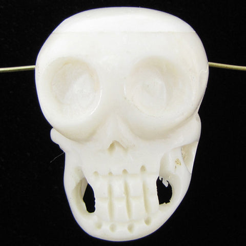 105mm white bone carved skull pendant bead