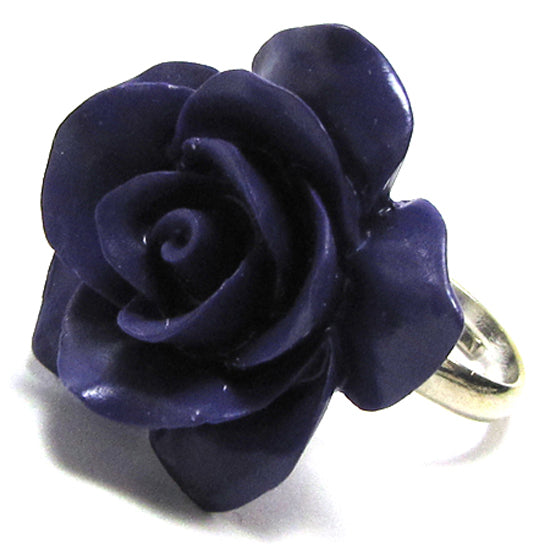 28mm synthetic coral carved rose flower adjustable ring size 5-7 purple