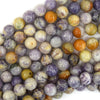 Natural Purple Flower Jasper Round Beads 15.5