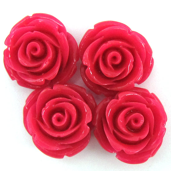 8 20mm synthetic coral carved rose flower pendant bead magenta
