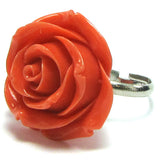 26mm synthetic coral carved rose flower adjustable ring size 5-7 pink