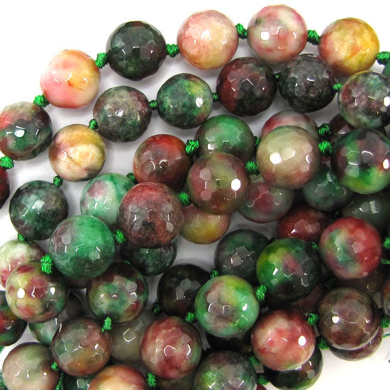 "14mm faceted multicolor jade round beads 11"" strand"