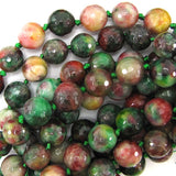 14mm faceted multicolor jade round beads 11