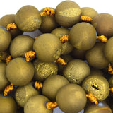 12mm gold druzy agate round beads 7.5