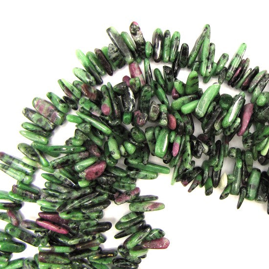 "12mm - 24mm natural ruby zoisite stick tooth beads 15"" strand"
