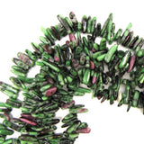 12mm - 24mm natural ruby zoisite stick tooth beads 15
