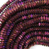 2x4mm purple hematite diamond shape beads 16