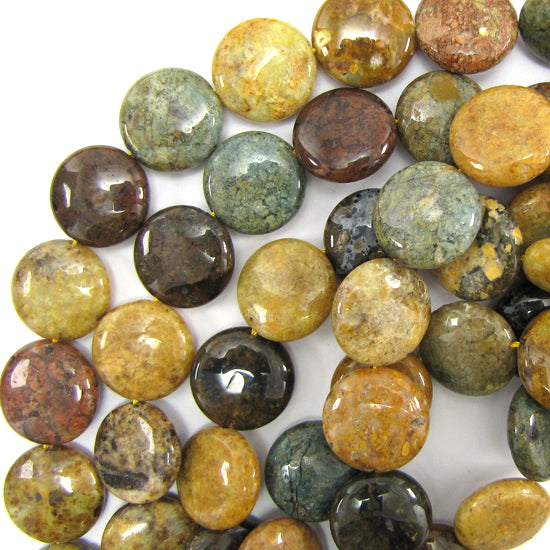 "20mm natural ocean jasper coin beads 15.5"" strand"