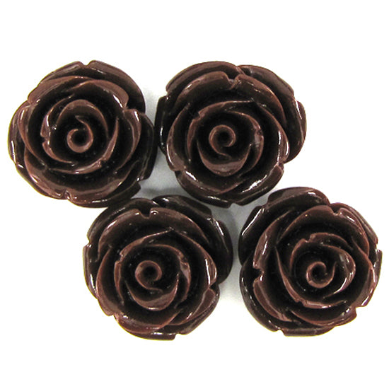 8 20mm synthetic coral carved rose flower pendant bead brown