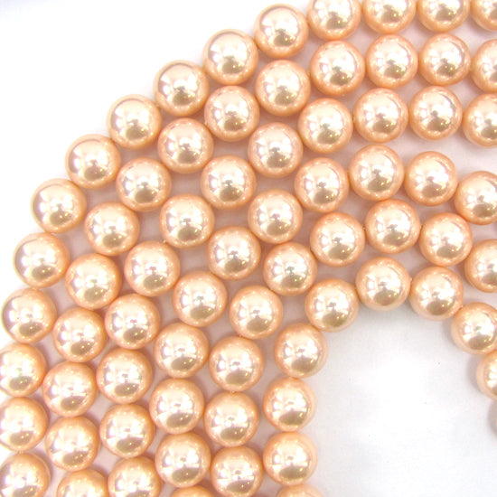 "12mm pink shell pearl round beads 16"" strand S1"