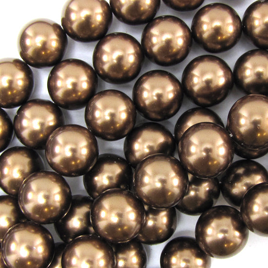"12mm brown shell pearl round beads 15"" strand"