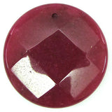2 pieces 40mm faceted ruby red jade coin bead pendant