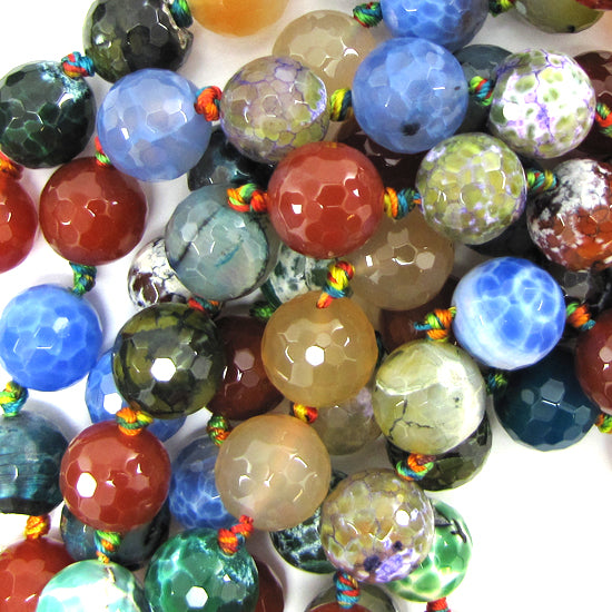 "14mm faceted agate round beads 12"" strand multicolor"
