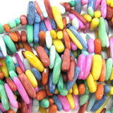 12-24mm multicolor jade stick tooth beads 16