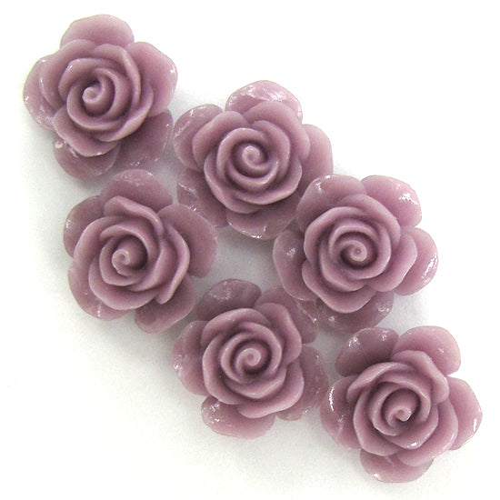 "15mm synthetic coral carved rose flower beads 15"" strand 24 pcs lavender"
