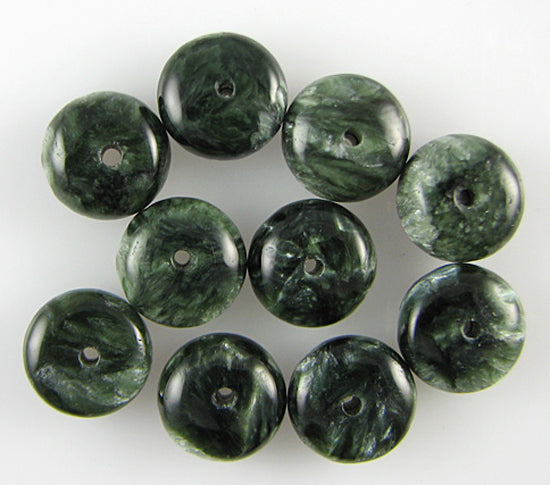 10mm Russian seraphinite rondelle beads 10pcs