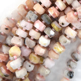 10mm - 11mm natural faceted Peruvian pink opal rondelle beads 15.5