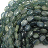 12mm - 13mm dark blue kyanite flat oval beads 16