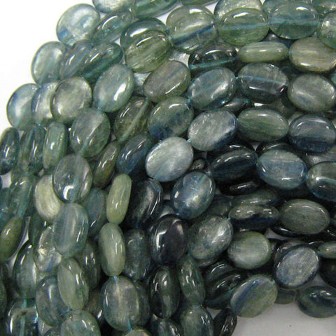 "11mm blue kyanite flat oval beads 15.5"" strand"