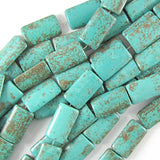 25mm blue turquoise rectangle pillow beads 16