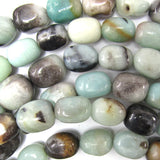 14mm blue amazonite barrel beads 15.5