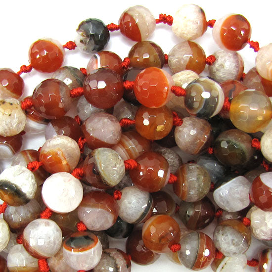 "12mm faceted druzy agate round 13"" strand brown white"
